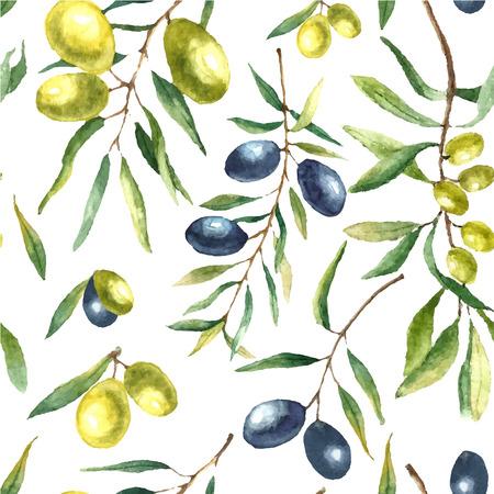 水彩のオリーブの枝のシームレスなパターン。自然の要素と描かれた花のテクスチャを手: オリーブの枝、葉、黒と緑のオリーブ。ベクトルの図。
