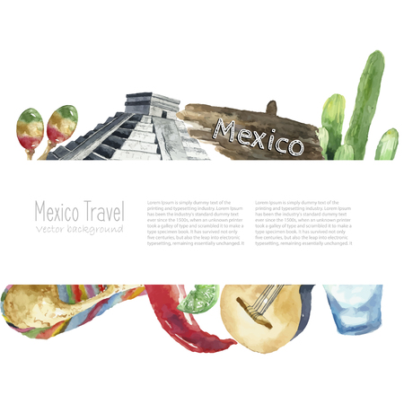 Watercolor Mexico landmark frame. Hand draw card background with place for text and objects. Sombrero, pepper, lime, pyramid, tequila, guitar, cactus. Vector background.