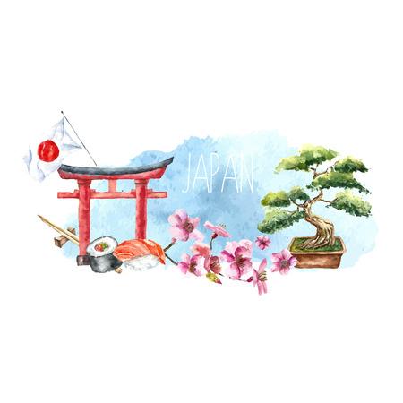 viajes: Acuarela Japón banner.Label con mano elementos dibujados: Puerta de Torii, árbol de los bonsai, cerezo de sucursales, rollo de sushi, palillos y bandera de Japón. Japón ilustración signs.Vector capital.