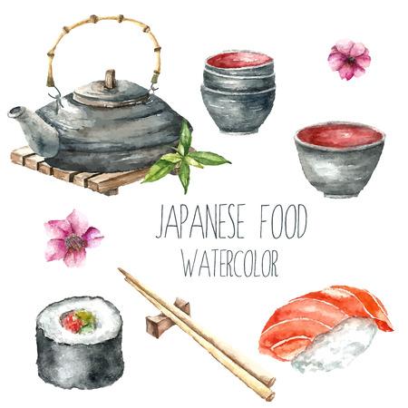 수채화 일본 음식. 손으로 그린 음식 제품 : 주전자와 컵, 초밥, 롤과 젓가락. 벡터 일러스트.