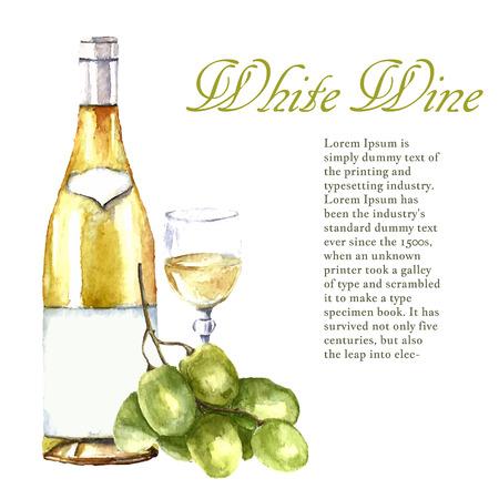 수채화 와인 디자인 요소 : 와인 글라스, 와인 병, 텍스트에 대 한 장소 포도. 벡터 일러스트 레이 션.
