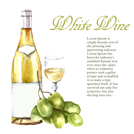 Watercolor wine design elements: wine glass, wine bottle, grape with place for text. Vector illustration. Ilustração