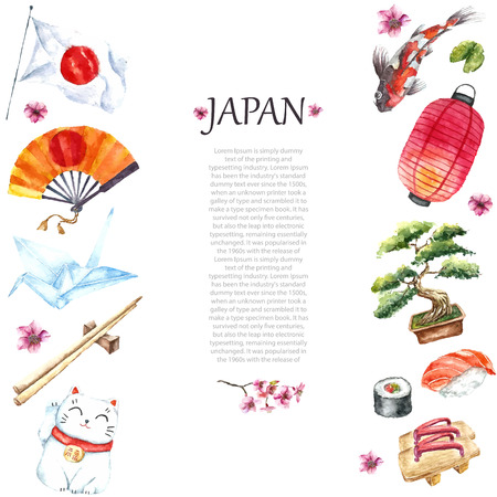 Watercolor Japanese frame. Frame with hand draw Japanese objects:Torii gate,origami bird,Japan flag,lacky cat,Japanese lantern and fan,geisha shoes,bonsai tree,koi fish and cherry blossom. Ilustração