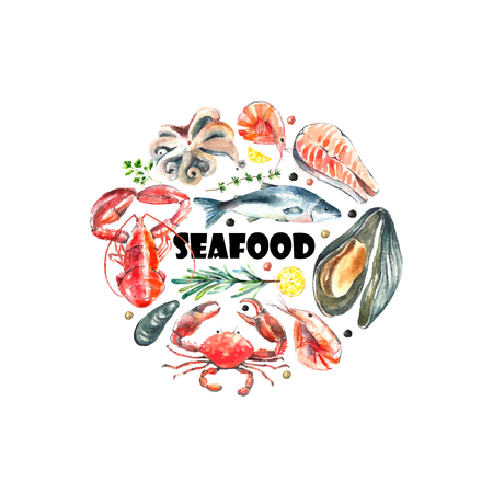 Watercolor frame of seafood.Hand draw isolated illustration on white background:lobster,crab,shrimp,octopus,mussel,salmon with herbs,lemon and peppers.Fresh organic food. Illustration