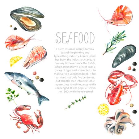 シーフードの水彩のフレーム。手は、白い背景: ロブスター、カニ、エビ、タコ、ムール貝、サーモンのハーブ、レモン、ピーマンに隔離された図を描画します。新鮮な有機食品。 写真素材 - 46276467
