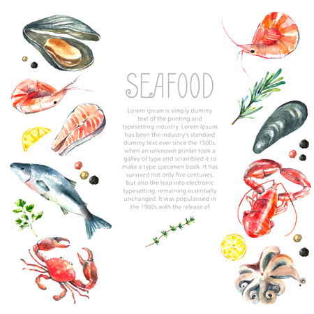 fresh seafood: Watercolor frame of seafood.Hand draw isolated illustration on white background:lobster,crab,shrimp,octopus,mussel,salmon with herbs,lemon and peppers.Fresh organic food. Illustration