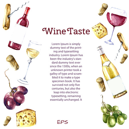 Watercolor wine design elements: wine glass, wine bottle, chees, corkscrew, cork, grape. Vector illustration. Illustration