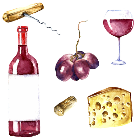 Watercolor wine design elements: wine glass, wine bottle, chees, corkscrew, cork, grape. 版權商用圖片 - 46276471