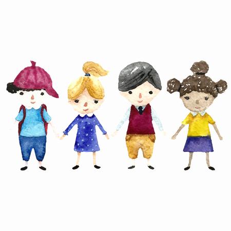 Cole Aquarelle illustration pour enfants. Vector. Banque d'images - 46276549