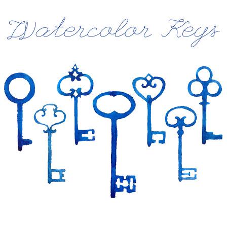 safe house: Set of watercolor vintage keys. Vector illustration.
