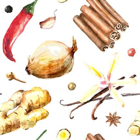 Aquarel specerijen patroon. Naadloze textuur met de hand getekende elementen: kaneel, gember, rode peper, ui, vanille en teentje knoflook.
