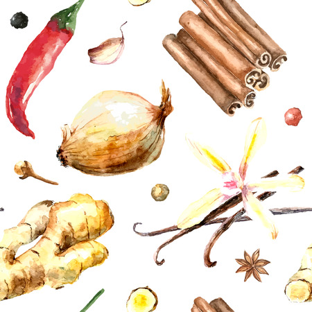 Watercolor spices pattern. Seamless texture with hand drawn elements:cinnamon sticks,ginger,red pepper,onion,vanilla and clove of garlic. Ilustração