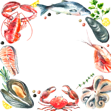 Watercolor frame of seafood.Hand draw isolated illustration on white background:lobster,crab,shrimp,octopus,mussel,salmon with herbs,lemon and peppers.Fresh organic food.  イラスト・ベクター素材