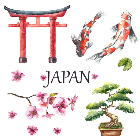Watercolor hand trekt Japans design elementen: Torii poort, bonsai boom, koi vis en kersenbloesem tak. Vector illustratie.