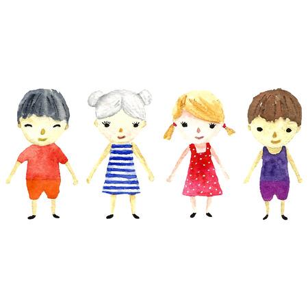 group of kids: Watercolor children illustration. Vector.
