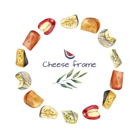 gouda: Cheese making various types of cheese round frame  of watercolor illustration on a white background with green twig and figs. Vector.