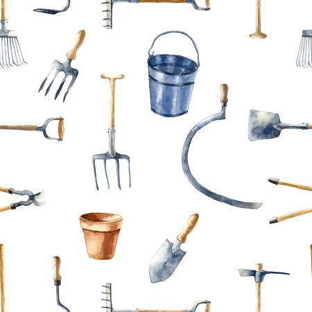garden furniture: Watercolor garden tools set. Seamless pattern.