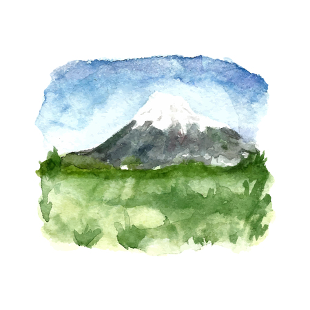 fuji mountain: Watercolor green landscape with mountains and blue sky. Vector illustration of nature. Illustration