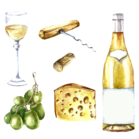 Watercolor wine design elements: wine glass, wine bottle, chees, corkscrew, cork, grape.