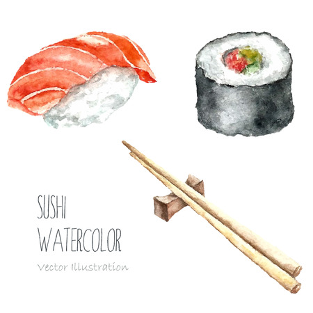 food illustration: Watercolor sushi and roll with chopsticks on white background. Hand draw isolated illustrations. Vector.