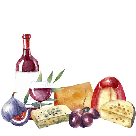 Vector set of watercolor food illustration. Grapes, cheese, fig, bottle of red wine and a glass of wine are in the set.