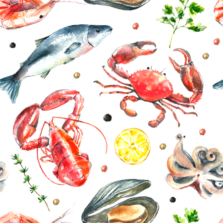 cozza: Watercolor pattern of seafood.Hand draw isolated illustration on white background:lobster,crab,shrimp,octopus,mussel,salmon with herbs,lemon and peppers.Fresh organic food. Vettoriali