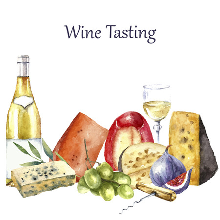 Vector set of watercolor food illustration. Grapes, cheese, fig, bottle of white wine and a glass of wine are in the set. Çizim