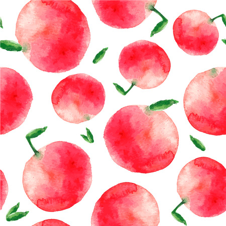 Watercolor apple. Hand painted red apple and green leaves seamless pattern.