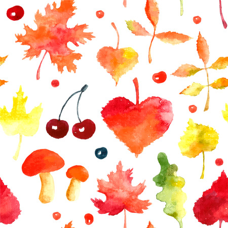 vintage paper: Watercolor autumn seamless pattern. Hand drawn red, yellow,orange and green leaves, mushrooms and berry.