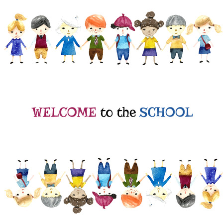 school uniform: Watercolor school children illustration with place for text. Vector.