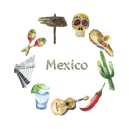 mexico beach: Watercolor Mexico landmark frame. Hand draw card background with place for text and objects. Sombrero, pepper, lime, pyramid, tequila, guitar, cactus. Vector background.