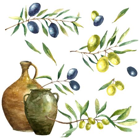 Hand getekende aquarel illustratie met olijven. Set van de elementen: klei kruiken, olijftak en olijven op de witte achtergrond.