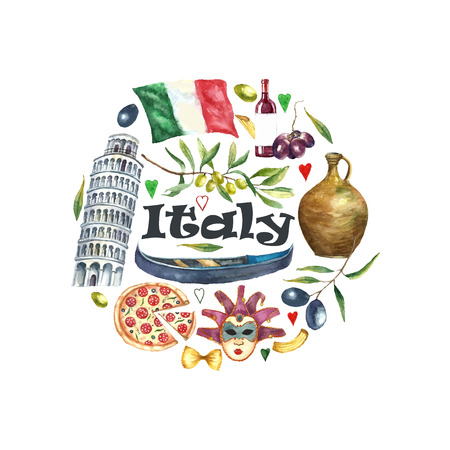 macaroni: Watercolor travel concept Italy landmark frame. Hand draw round card background with elements: flag of Italy, tower of Pisa, pizza, gondola, macaroni, carnival mask. Vector Italy capital signs icons. Stock Photo