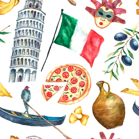 Watercolor Italy pattern. Seamless texture with hand drawn elements: tower of Pisa,flag of Italy,pizza,mask,gondola and olive branch.