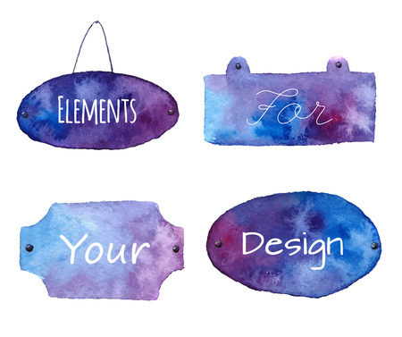 hangings: Watercolor signboard set. Isolated on white background. Illustrations for label design
