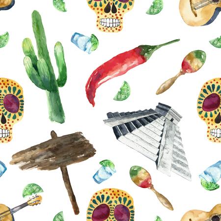 enchiladas: Travel Concept Mexico Landmark Watercolor Seamless Pattern .Vector Illustration.