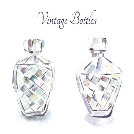 elixir: Watercolor vintage perfume bottles. Vector illustration.