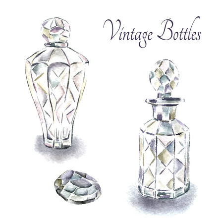 old hand: Watercolor vintage perfume bottles. Vector illustration.