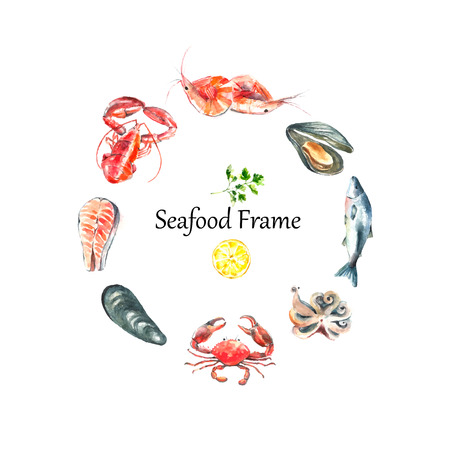 Watercolor frame of seafood.Hand draw isolated illustration on white background:lobster,crab,shrimp,octopus,mussel,salmon with herbs,lemon and peppers.Fresh organic food. Ilustração