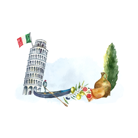 italy culture: Watercolor artistic tower of Pisa and Italian poplar logo. Hand drawn frame with Italian elements: tower of Pisa, gondola, poplar, clay jug, cheese and slice of pizza. Vector vintage label design.