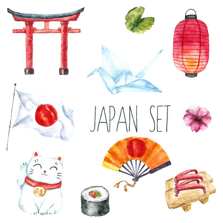 Watercolor set of Japan. Hand draw Japanese design elements:Torii gate,origami bird,Japan flag,lacky cat,Japanese lantern and fan,geisha shoes. Ilustração