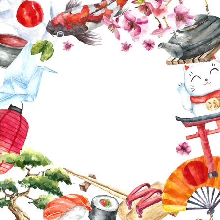 Watercolor Japanese frame. Round frame with hand draw Japanese objects:Torii gate,origami bird,Japan flag,lacky cat,Japanese lantern and fan,geisha shoes,bonsai tree,koi fish and cherry blossom.