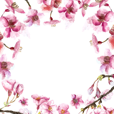 chinese watercolor: Watercolor round frame cherry blossom. Hand draw cherry blossom sakura branch and flowers. Vector illustrations.