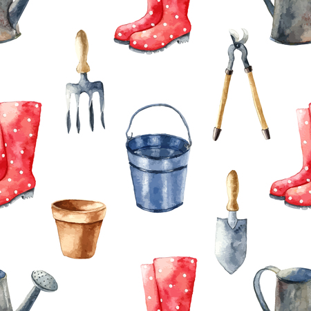 can: Watercolor garden tools set. Seamless pattern.