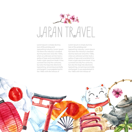 draw: Watercolor Japanese frame. Frame with hand draw Japanese objects:Torii gate,origami bird,Japan flag,lacky cat,Japanese lantern and fan,geisha shoes,bonsai tree,koi fish and cherry blossom. Illustration