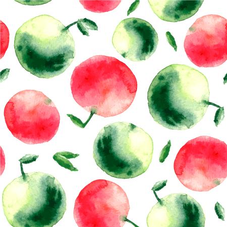 manzana verde: manzana de la acuarela. Pintado a mano manzana verde y el rojo y el verde deja el modelo inconsútil.
