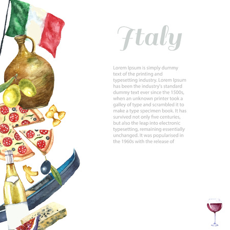 italian food: Watercolor set of Italy. Hand draw Italy frame with elements: tower of Pisa, gondola, poplar, clay jug, cheese. Vector vintage label design Stock Photo