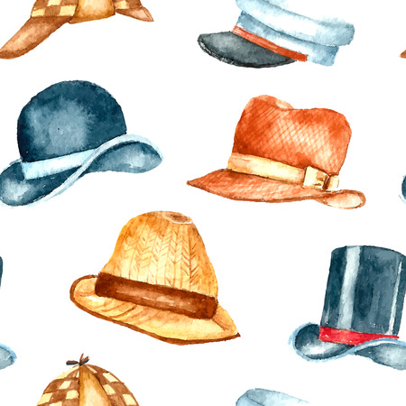 Watercolor hat collection. Hand drawn seamless pattern.