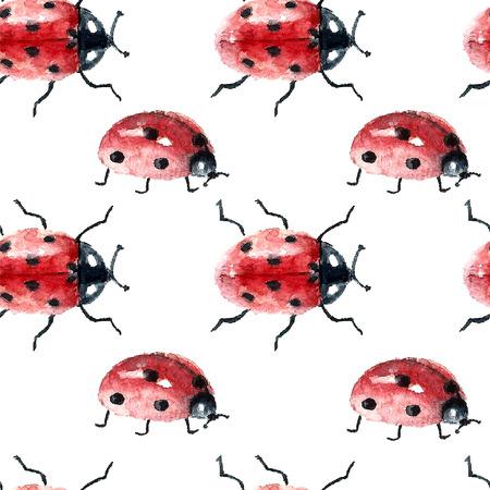수채화 귀여운 화려한 무당 벌레 클립 아트 컬렉션 흰색 배경에 고립입니다. 원활한 패턴입니다. 벡터