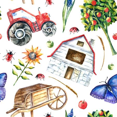 Acuarela granja orgánica patrón transparente. Mano objetos dibujados tractor, girasol, camión, cerca, cesta, mariposa, mariquita y la espiga con el lugar de texto. Vector
